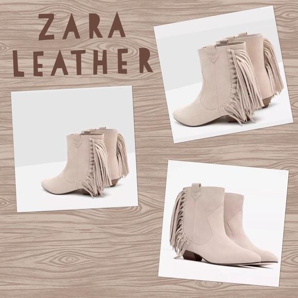 e04755ae557 Zara Leather cowboy booties w/Fringe Size 6 NWT